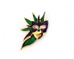 Mardi Gras Feather Mask Hat Pin Brooch