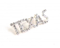 Clear Crystal Texas Silver Brooch Pin