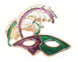 Mardi Gras Feather Mask Pin Brooch
