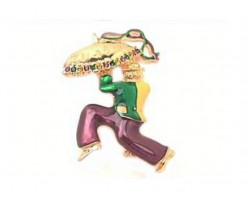 Mardi Gras Running Umbrella Man Pin Brooch