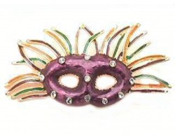 Mardi Gras Purple Mask With Feathers Brooch