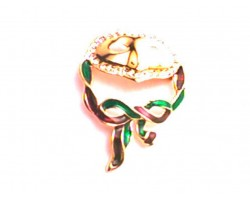 Gold Purple Green Mardi Gras Mask Ribbon Brooch