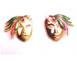 Mardi Gras Gold Mask Feather Post Earrings