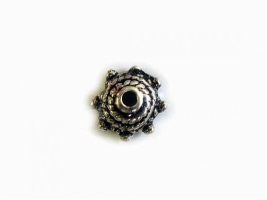 Antique Silver Plate 4x9mm Roped Rounded Domed Star Style Bead Cap