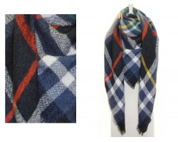 Navy Red Plaid Fringe Blanket Scarf