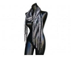 Black Silver Shimmer Oblong Scarf
