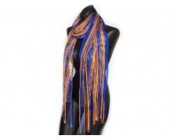 Blue Orange Shimmer Oblong Scarf