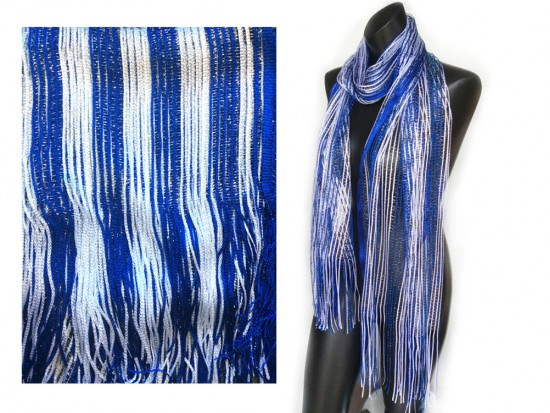 Blue White Shimmer Oblong Scarf