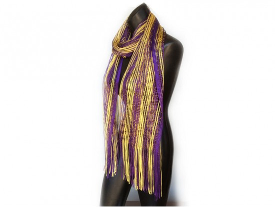 Purple Yellow Shimmer Oblong Scarf