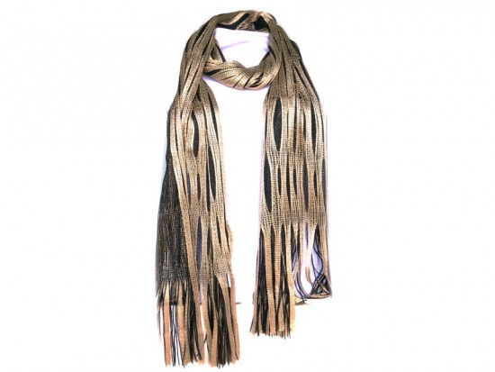 Black Gold Open Cut Shimmer Oblong Scarf