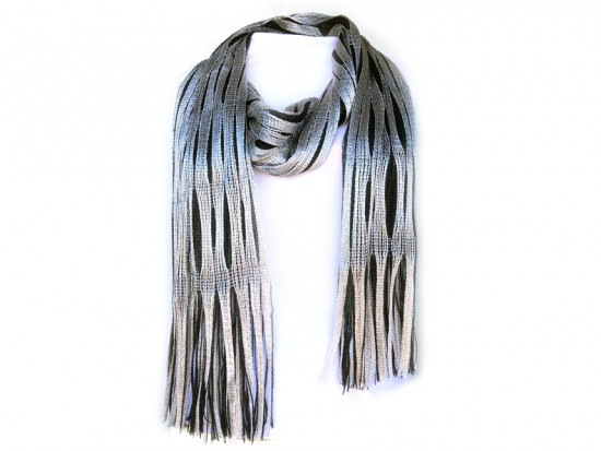 Black Silver Open Cut Shimmer Oblong Scarf