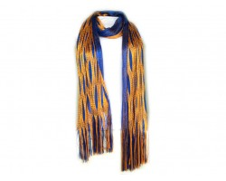 Orange Blue Open Cut Shimmer Oblong Scarf