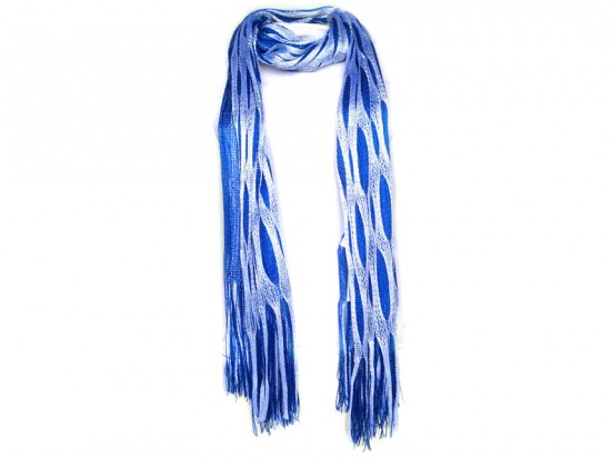 Blue White Open Cut Shimmer Oblong Scarf