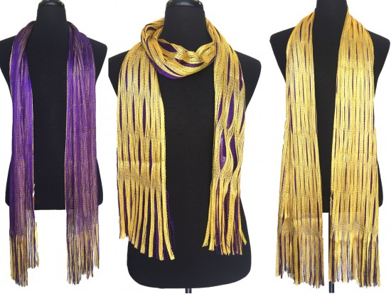 Purple Yellow Open Cut Shimmer Oblong Scarf
