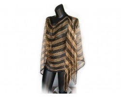 Black & Gold Striped Shimmer Poncho