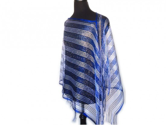 Blue & White Striped Shimmer Poncho