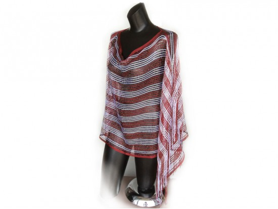 Maroon & White Striped Shimmer Poncho