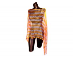 Orange & White Striped Shimmer Poncho