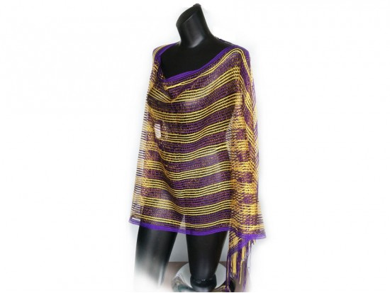 Purple & Yellow Striped Shimmer Poncho