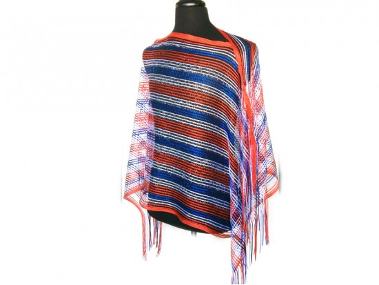 Red White Blue Striped Shimmer Poncho