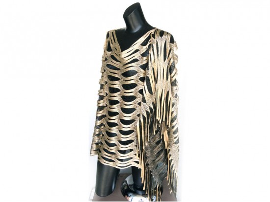 Black & Gold Open Cut Shimmer Poncho