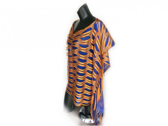 Blue & Orange Open Cut Shimmer Poncho