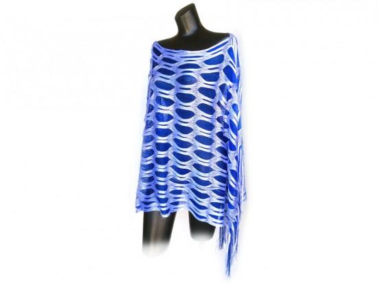 Blue & White Open Cut Shimmer Poncho