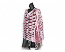 Maroon & White Open Cut Shimmer Poncho