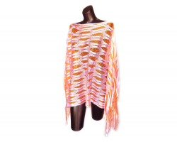 Orange & White Open Cut Shimmer Poncho