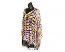 Purple & Yellow Open Cut Shimmer Poncho