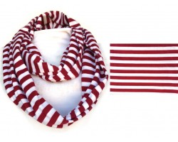 Maroon White Striped Infinity Jersey Knit Scarf