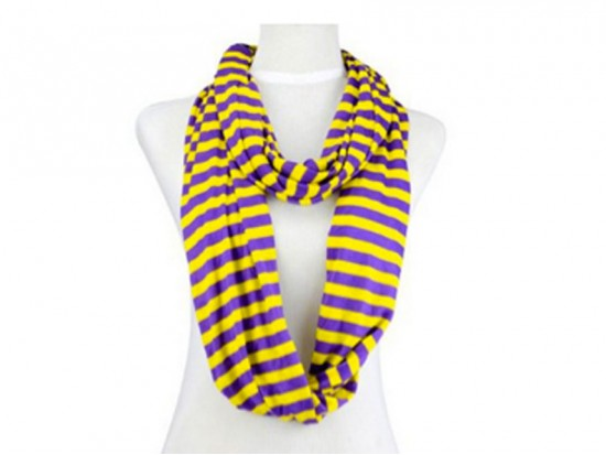 Purple Yellow Striped Infinity Jersey Knit Scarf
