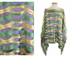 Mardi Gras Abstract Open Cut Shimmer Poncho