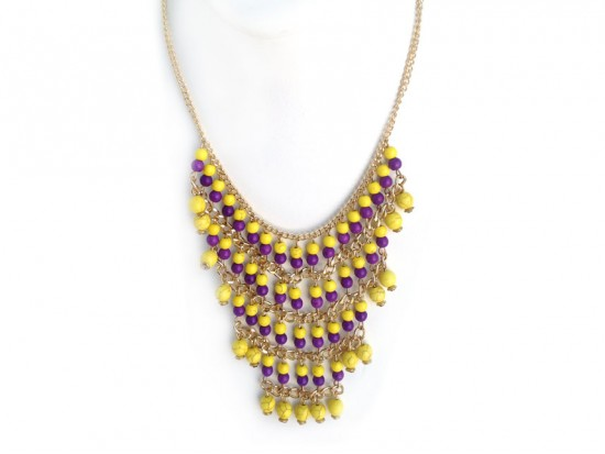 Purple Yellow Beaded Layered Chain Necklace Set
