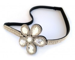 Clear Crystal Daisy Flower Stretch Headband