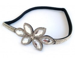 Clear Crystal Leaf Design Stretch Headband