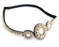 Clear Crystal 3 Circle Design Stretch Headband