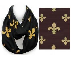 Black Gold Fleur De Lis Heavy Knit Infinity Scarf
