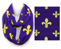 Purple Yellow Fleur De Lis Heavy Knit Infinity Scarf