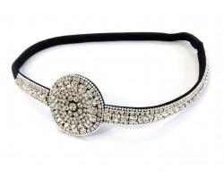 Clear Crystal Circle Design Stretch Headband