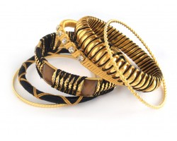 Black Gold Cord Bangle 6 Set