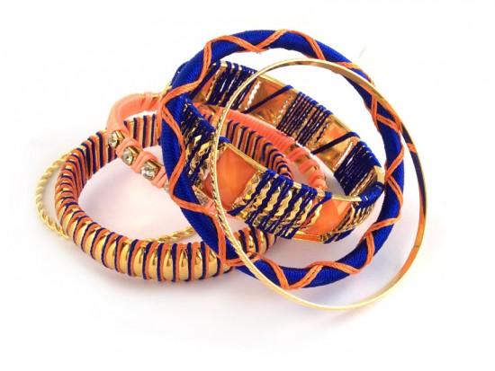 Blue Orange Cord Bangle 6 Set