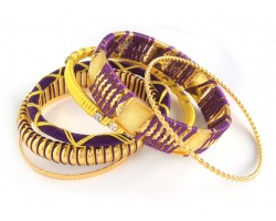 Purple Yellow Cord Bangle 6 Set