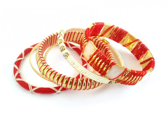 Red White Cord Bangle 6 Set