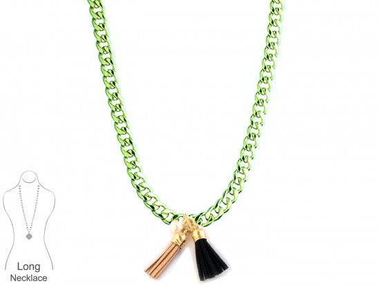 Black Gold Leather Tassel Chain Necklace