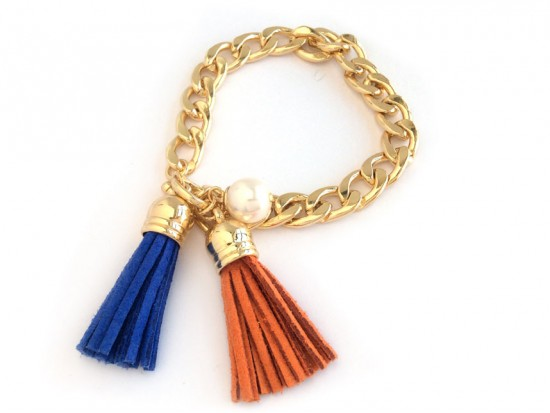 Orange Blue Leather Tassel Charm Bracelet