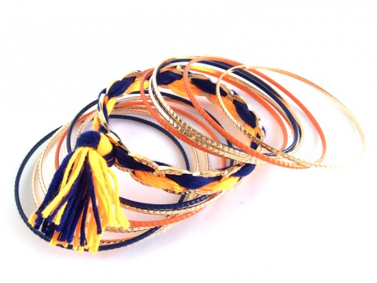 Blue Orange Tassel Gold Thin Bangle 12 Set