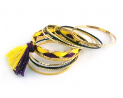 Purple Yellow Gold Tassel Gold Thin Bangle 12 Set
