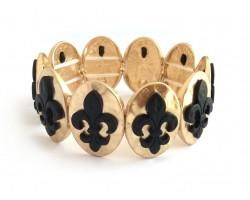 Black Fleur De Lis Gold Oval Hammered Bracelet