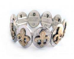 Gold Fleur De Lis Silver Oval Hammered Bracelet